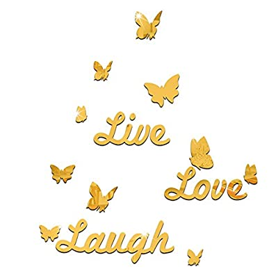 3D Live Love Laugh Butterfly Acrylic Mirror Wall Sticker Decoration Wall Decals DIY-gold