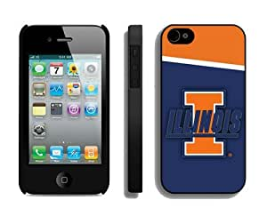 Best Iphone 4/4s Case Cover Ncaa Illinois Hit Color Stitching Mobile Phone Protector for Guys