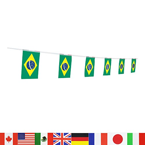 LoveVC 100 Feet Small Mini Brazil Brazilian Flags Banner String,Decorations Supplies For Brazilian Theme Party Celebration Events