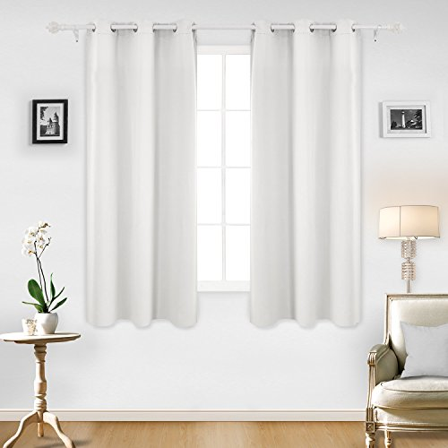 Deconovo Room Darkening Thermal Insulated Blackout Grommet Window Curtain Panel For Living Greyish White 42x63 Inch 1