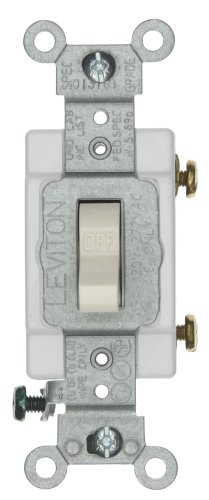Leviton CSB1-15T 15-Amp, 120/277-Volt, Toggle Single-Pole AC Quiet Switch, Commercial Grade, Grounding, Light Almond