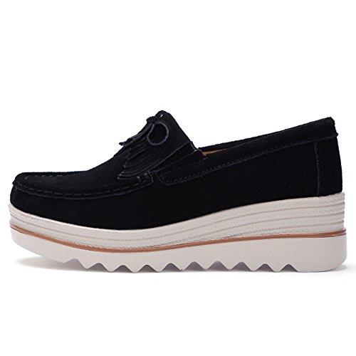 On Black Comfortable Shoes Work STQ Platform Loafers Slip Tassel Wedge Suede Women Moccasin F77wqETf