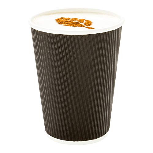 (500-CT Disposable Black 12-OZ Hot Beverage Cups with Ripple Wall Design: No Need for Sleeves - Perfect for Cafes - Eco-Friendly Recyclable Paper - Insulated - Wholesale Takeout Coffee Cup (Renewed))