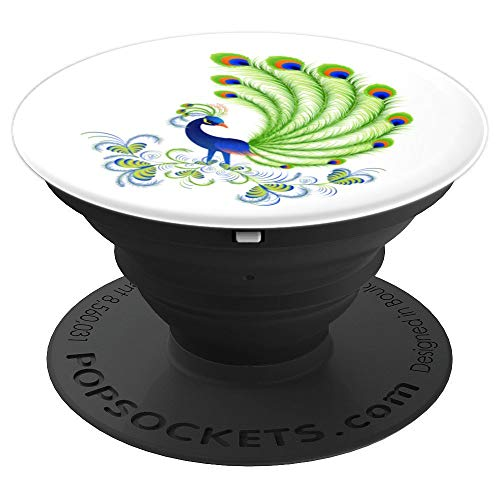 Majestic Peacock Feathers Bird Floral Nature Artwork - PopSockets Grip and Stand for Phones and Tablets