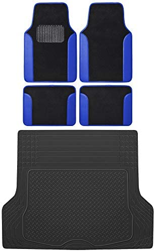 BDK MT-202 Vibrant Color Carpet Floor Mats, Two Tone Color Design with PU Leather Trim, Universal Front & Rear Combo Set with Trunk Cargo Mat Liner for Car Sedan SUV Van, Heavy Duty All Weather
