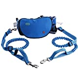 Thinkpet Hands Free Dog Leash for 2 Dogs - Adjustable Dual Bungee Running Leash with Multifunctional Waist Pack for Jogging Running Walking Hiking