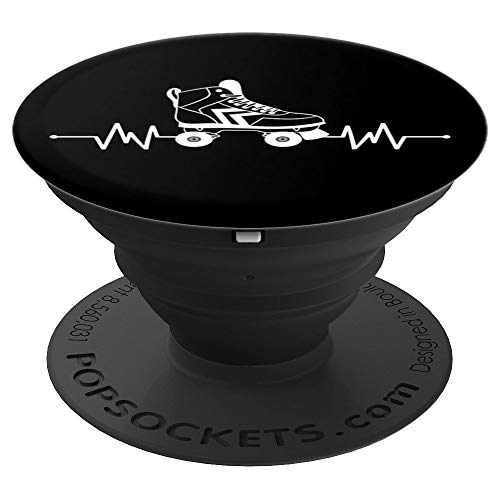 Womens Vintage Roller Skating Accessories Heartbeat 80s Gift - PopSockets Grip and Stand for Phones and Tablets ()