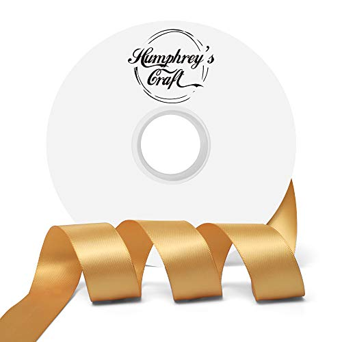 Humphrey's Craft 1-inch Double Face Solid Satin Ribbon 100% Polyester Ribbon Roll-50 Yard (Old Gold)