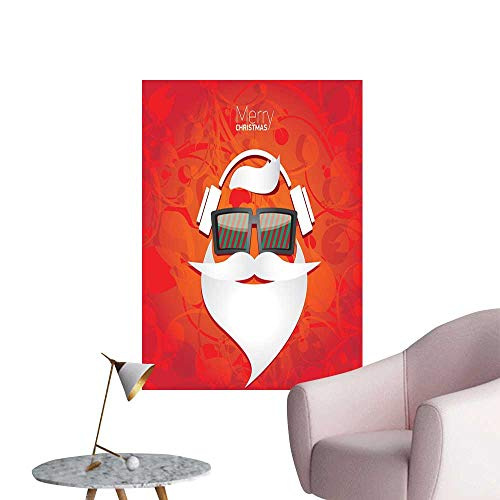 Jaydevn Santa 3D Murals Stickers Wall Decals Hipster Santa with Glasses and Headphones on Abstract Floral Backdrop Rental House Wall Vermilion White Green W32 x -