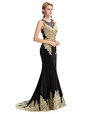 GRACE KARIN Mermaid Evening Gowns Long Prom Dress for Women Formal with Applique