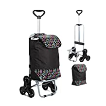 LUCKYYAN Foldable Rolling Stair Climbing Shopping Cart with Seat, Upgraded Trolley with Can Stretch the Handle