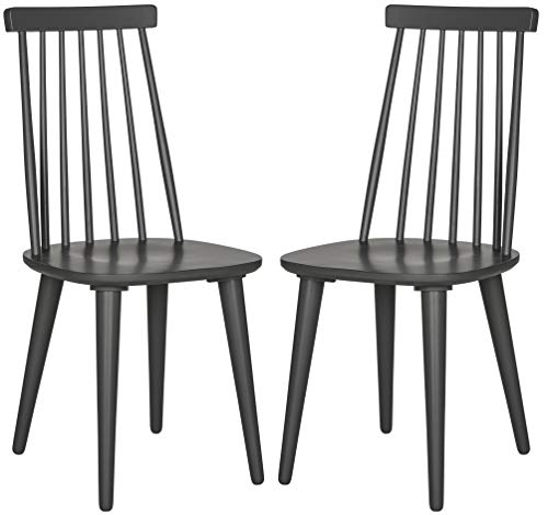 Spindle Collection - Safavieh American Homes Collection Burris Country Farmhouse Grey Spindle Side Chair (Set of 2)