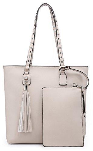 (Shoulder Purse,Hobo Bag Set Tote Handbag for Women Large Chic Classic Elegant Medium Size with Wallets Tassels (Medium, Ivory))