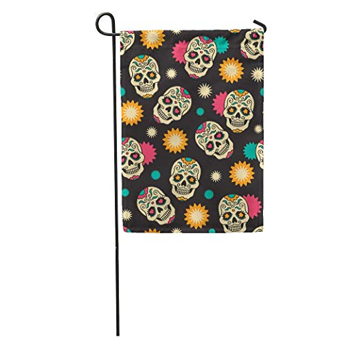 Riuiana Garden Flag Yellow Dead Sugar Skulls Mexican Halloween Pattern Music Heart Fiesta Home Yard House Decor Barnner Outdoor Stand 12x18 Inches Flag]()