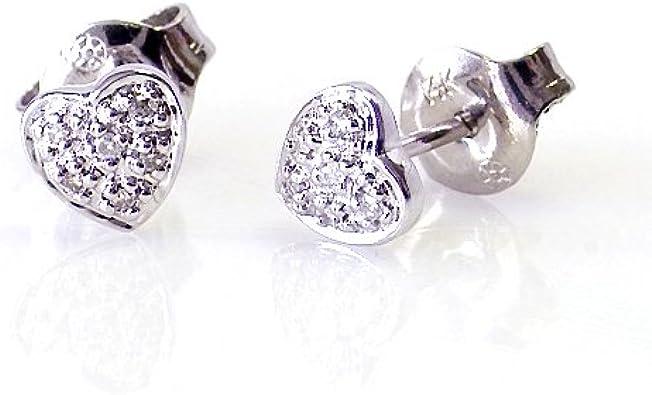 Amazon Com 14k White Gold Diamond Heart Earrings Stud Earrings Jewelry