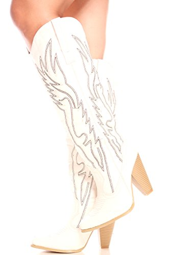 Forever Link FAUX LEATHER STITCHED DESIGN CHUNKY HEEL CASUAL KNEE HIGH WESTERN BOOTS 65 white by Lolli Couture