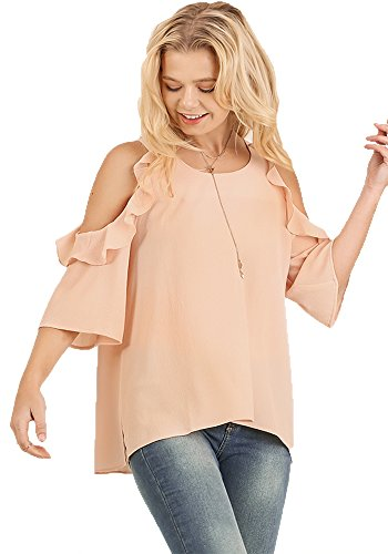 Umgee Women's Solid Colored Cold Shoulder Tunic with Ruffle Details (Small, Bisque)