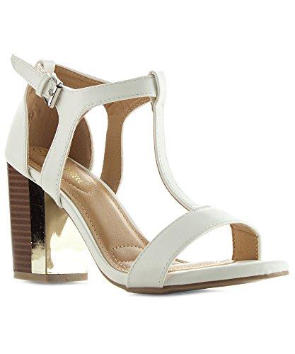 Metallic Open Toe Heels - 4