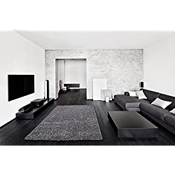 """Ottomanson Soft Cozy Color Solid Shag Area Rug Contemporary Living and Bedroom Soft Shag Area Rug, Grey, 5'3"""" L x 7'0"""" W"""