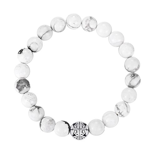 Link Pendant Bracelet - MetJakt Natural 8mm Gorgeous Men Women Semi-Precious Gemstones Healing Crystal Stretch Beaded Bracelet Unisex Bangle with 925 Sterling Silver Double Happiness Pendant (Howlite)