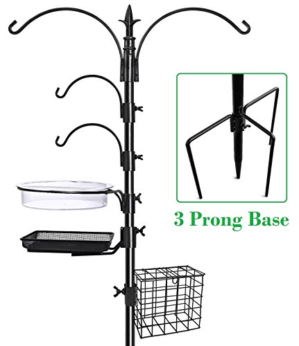 "417p0RVplgL - GrayBunny GB-6844D Deluxe Premium Bird Feeding Station Kit, 22"" Wide x 91"" Tall (82"" above ground height), 3 Prong Base, A Multi Feeder Hanging Kit and Bird Bath For Attracting Wild Birds, Stand Hook"