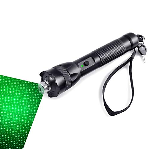 (FreeMascot 2 Modes Handheld 532 NM Green Light Focusable Flashlight with Gift Star Patterns Head Best for Hunting, Astronomy, Camping, Field Survival (Black))