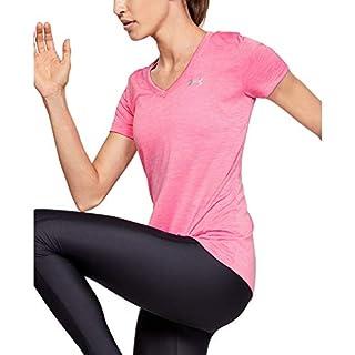 Under Armour Women's Regular Tech V-Neck Twist Short Sleeve T-Shirt, Lipstick (691)/Metallic Silver, X-Large