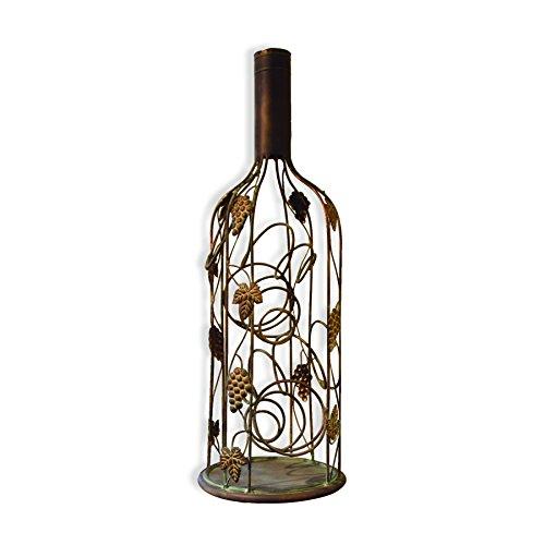 Haven Metal Grape Vine Bottle Shaped Wine Rack, Holds 4 (Metal Grapes Wine Bottle Holder)