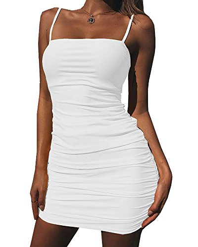 Kaximil Women's Sexy Strap Balckless Sleeveless Ruched Mini Club Dresses White ()