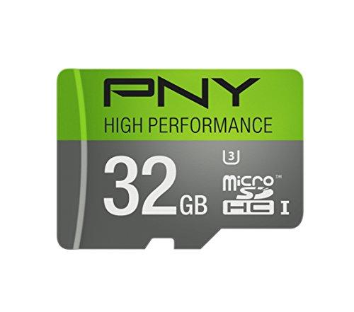 PNY U3 High Performance 32GB High Speed MicroSDHC Class 10 UHS-I, up to 60MB/sec Flash Memory Card (P-SDU32GU360G-GE)