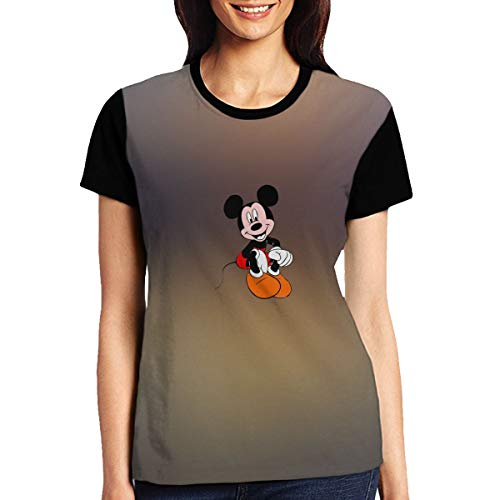 FOOOKL Mickey Mouse Womens O-Neck Cotton Graphic T-Shirt Black -