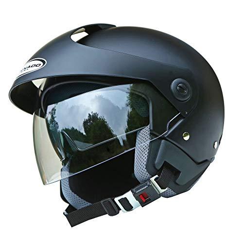 Saferide   Helm Motorrad Mit Sonnenblende Matt Schwarz L – 59-60 cm Rollerhelm Quad Damen Herren Roller Motorradhelm…