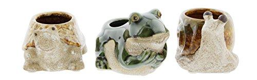 Stoneware Joy (Lucky Winner Set of 3 Assorted Mini Ceramic Planters - Turtle, Frog, Snail)
