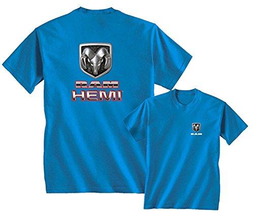 RAM HEMI LOGO DODGE EMBLEM MOPAR BADGE T-SHIRT, Sapphire Blue, L (2011 Dodge Ram Laramie Longhorn For Sale)