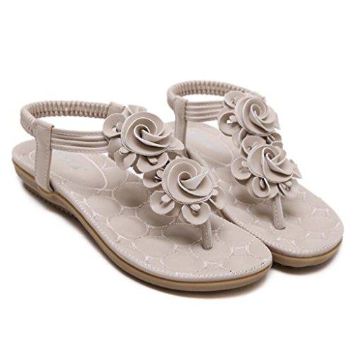 GAOLIXIA Sandalias de punta abierta de las mujeres Summer Sweet Clip Toe Sandalias planas Bohemia Flores Zapatos casuales de gran tamaño Apricot
