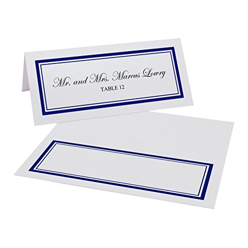 Documents and Designs Double Line Border Easy Print Place Cards, Pearl White, Navy, Set of 200 (34 Sheets)