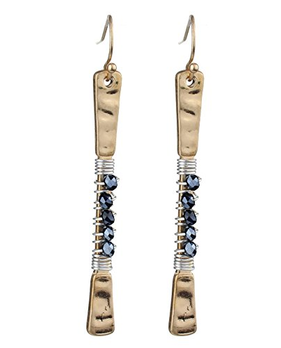 Hammered Bar (Women's Hammered Metal Wired Bead Bar Dangle Pierced Earrings, Black/Gold-Tone)