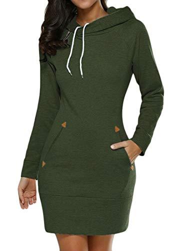 Femmes Cromoncent Manches Longues Occasionnels Hoodies Moulantes Robes Vertes