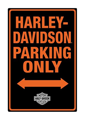 Harley-Davidson Tin Sign, H-D Embossed Parking Only Sign, Black 2010971