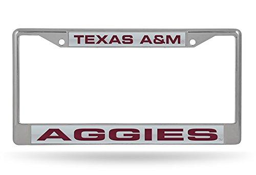 NCAA Texas A/&M Aggies Laser Cut Inlaid Standard Chrome License Plate Frame