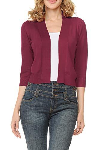Urban Look Women's Basic 3/4 Sleeve Open Front Light Weight Sweater Cardigan (S-XL) (Medium, Burgundy)