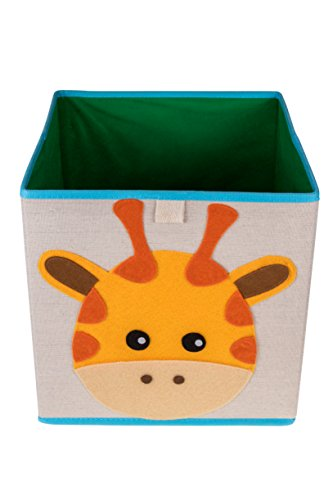Clever Creations Cute Giraffe Collapsible Storage Organizer Folding Storage Cube for Bedroom & Living Room | Perfect Size Storage Cube for Books, Clothes, Electronics, or Gadgets