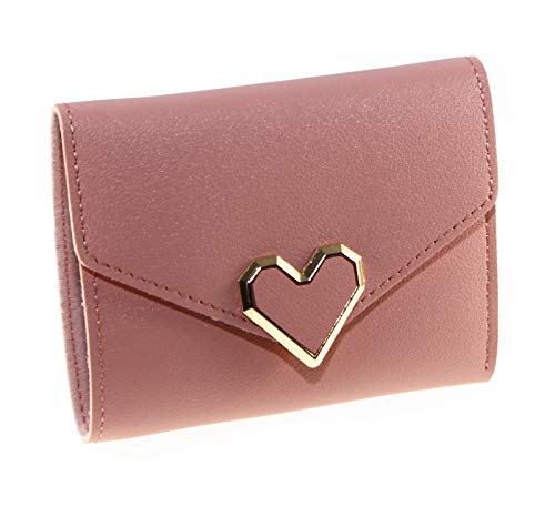 Korean Style Fashion PU Leather Heart Design Trifold Wallet Cash Coin Purse Card Holder for Girls & Women (Light Pink) ()