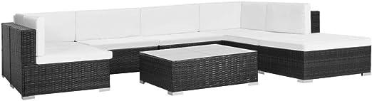 Wakects Conjuntos de Muebles de jardín,Set Muebles de jardín 8 Piezas y Cojines ratán sintético Negro, Sofá de Esquina Dimensiones70 x 70 x 54 cm: Amazon.es: Hogar