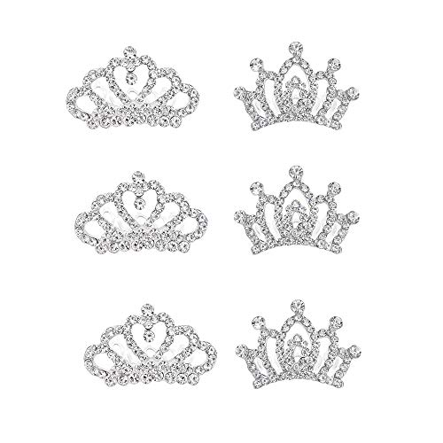 THSjewelry Mini Princess Crown Comb Tiara Crystal Hair Clips for Women and Little Girls Wedding Birthday Party (6 Pairs)]()