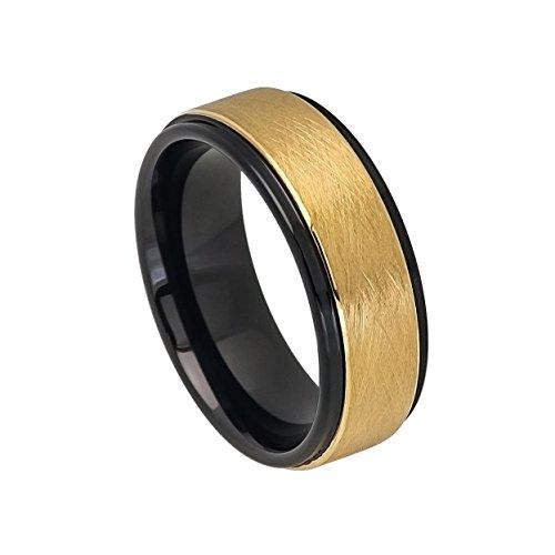 Men's 8mm Two-tone Black IP Inside & Yellow Gold IP Sandblasted Finish Center Stepped Edge Tungsten Ring Wedding Band (Yellow Gold Sandblasted)