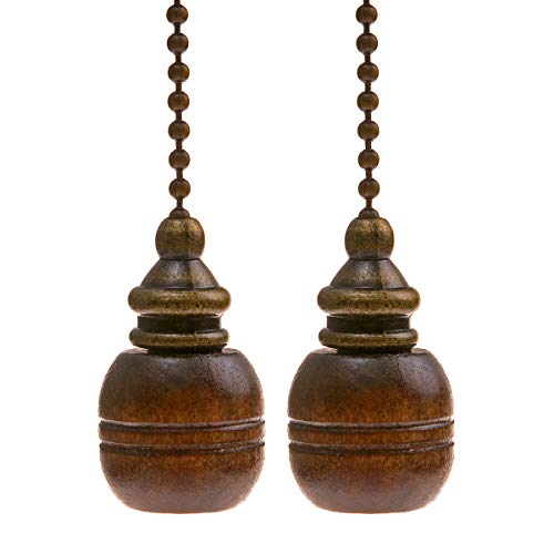 Saim Decorative Pull Chain Set Lamp Pull Extension for Light Fan with 12inch Bronze Chains and Wooden Knob Decor, Pack of 2 ()
