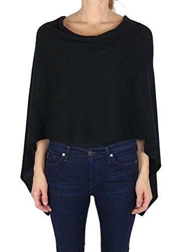 Alashan Cashmere Claudia Nichole 100% Cashmere Draped Dress Topper/LS1346 (Black) by Alashan Cashmere