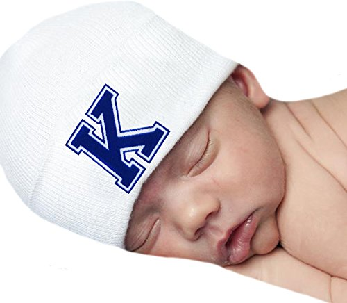 Flocked Letter - Melondipity Baby Hat First Initial Royal Blue Flocked Letter White Hospital Hat (K)