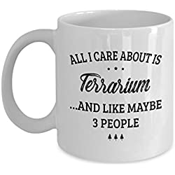Terrarium Mug - I Care And Like Maybe 3 People - Funny Novelty Ceramic Coffee & Tea Cup Cool Gifts for Men or Women with Gift Box